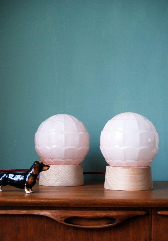 Art Deco table lamps 2 pastel pink SHELL  18 by GemsOfLightLamps