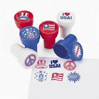 "Patriotic Stampers (2 Dozen) - Bulk (887600989993) Plastic Patriotic Stampers. Assorted styles. 1 1/2"" Accessories not included."