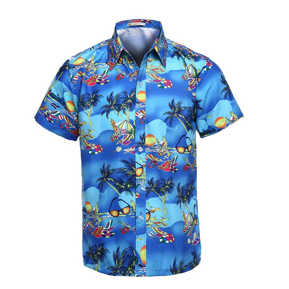 9e837f6d3a93 Hawaiian Shirt Men Short Sleeve Summer Classic Hawaii Beach Male Casual  Shirts Flower Print Mens Designer