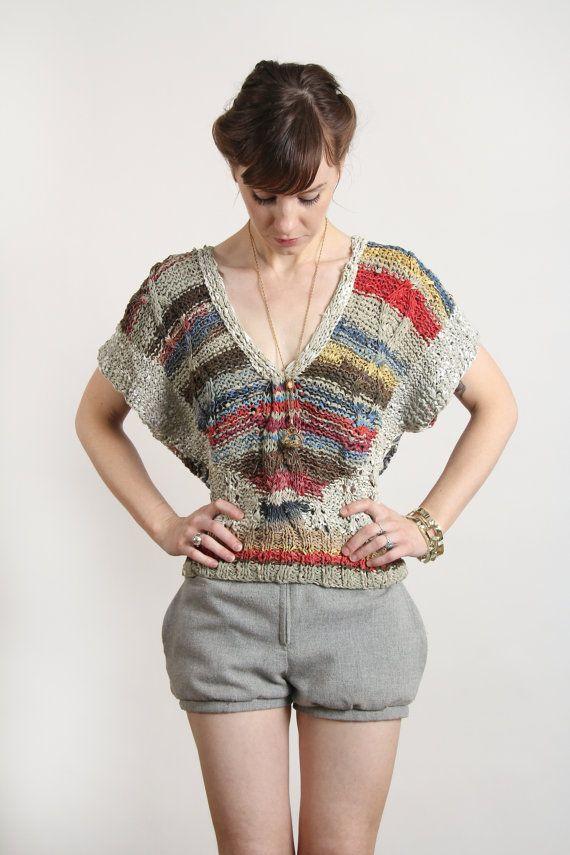LEATHER Knit Shirt Blouse Top by VeraVague