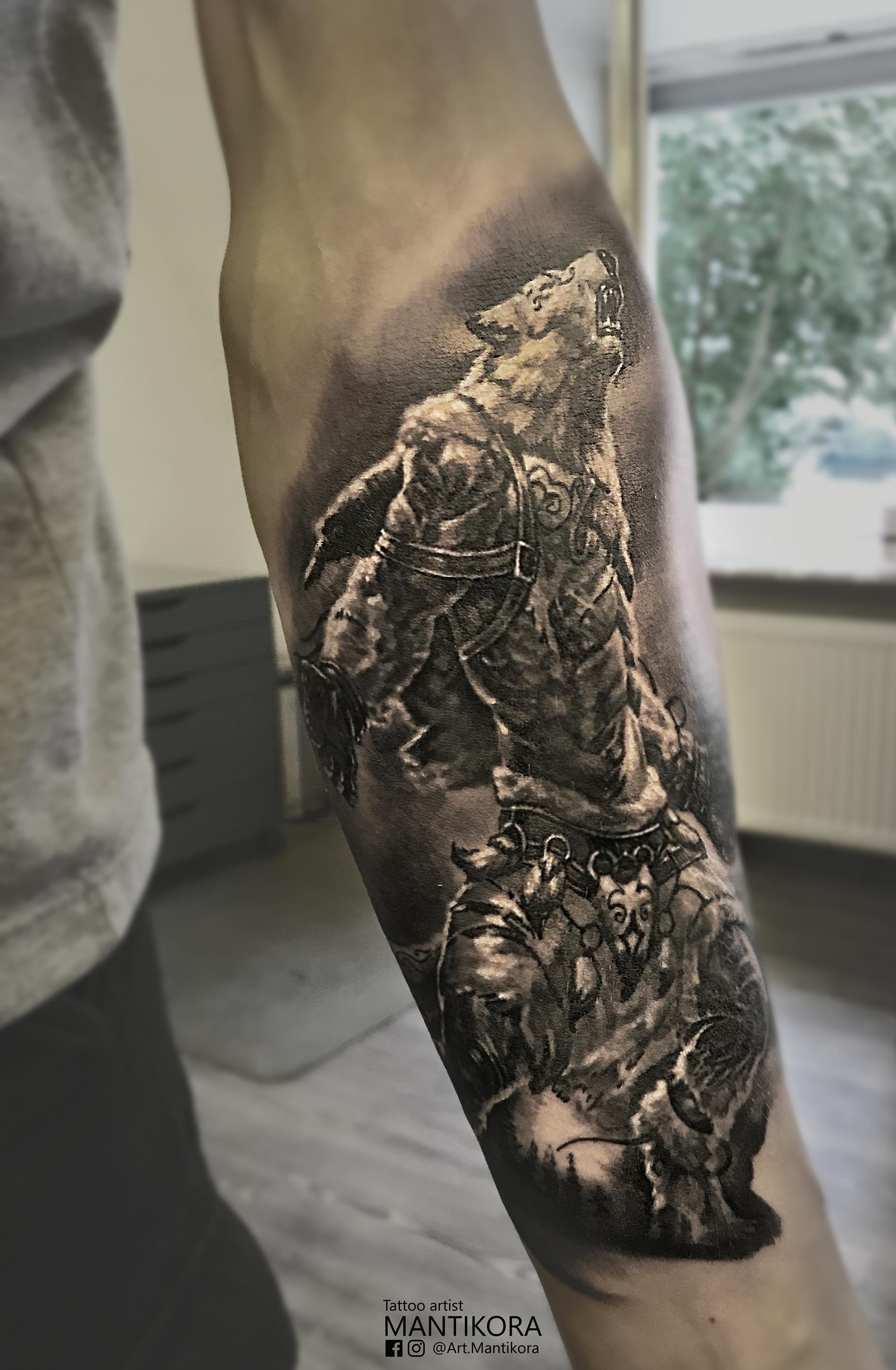 Werewolf Tattoo I Did A Few Days Ago Werewolf Tattoo Leg Sleeve Tattoo Body Art Tattoos