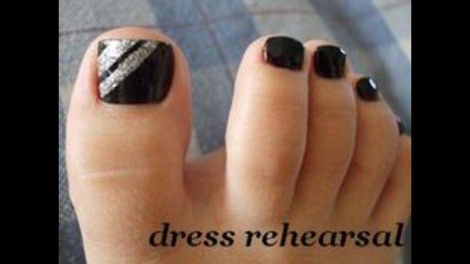 Black & silver - Black & Silver Pretty Nails Pinterest Black, Pedicures And Pedi