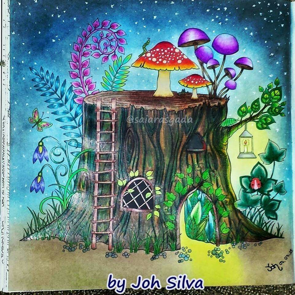 Coloring Tips Colouring Adult Book Pages Tree Stump Mika Johanna Basford Joanna Palete