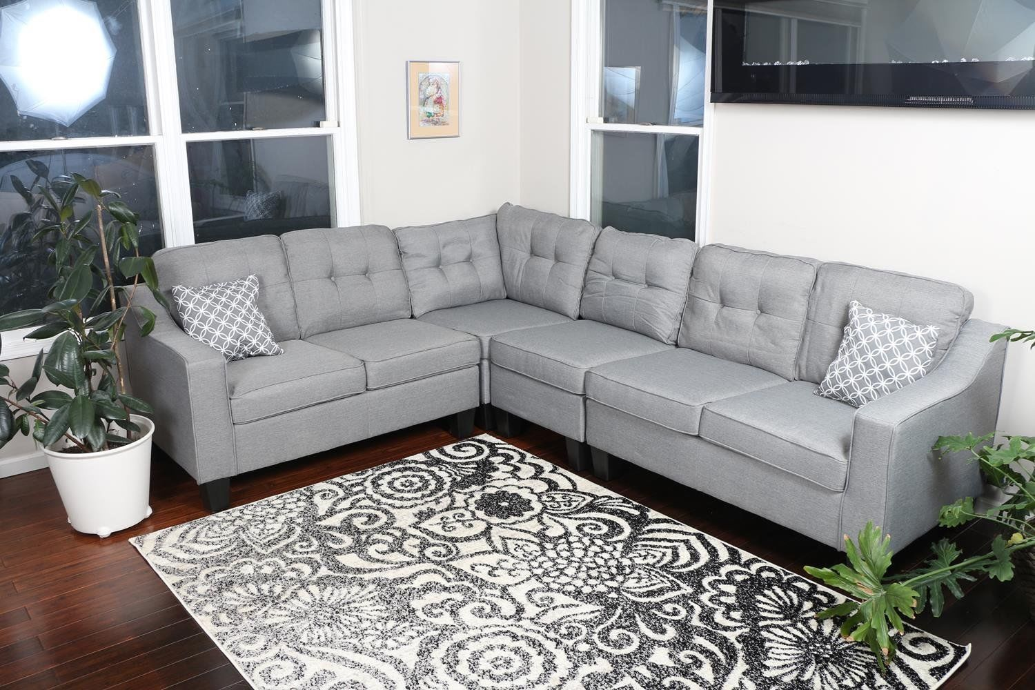 Large Reversible Light Grey 4pc Fabric Sectional Sofa Living Room