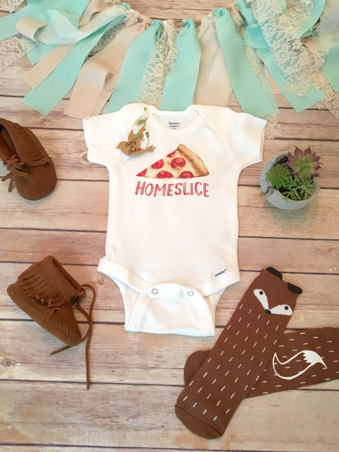 Unique Baby Gift Hipster Baby Clothes Pizza Onesie Funny