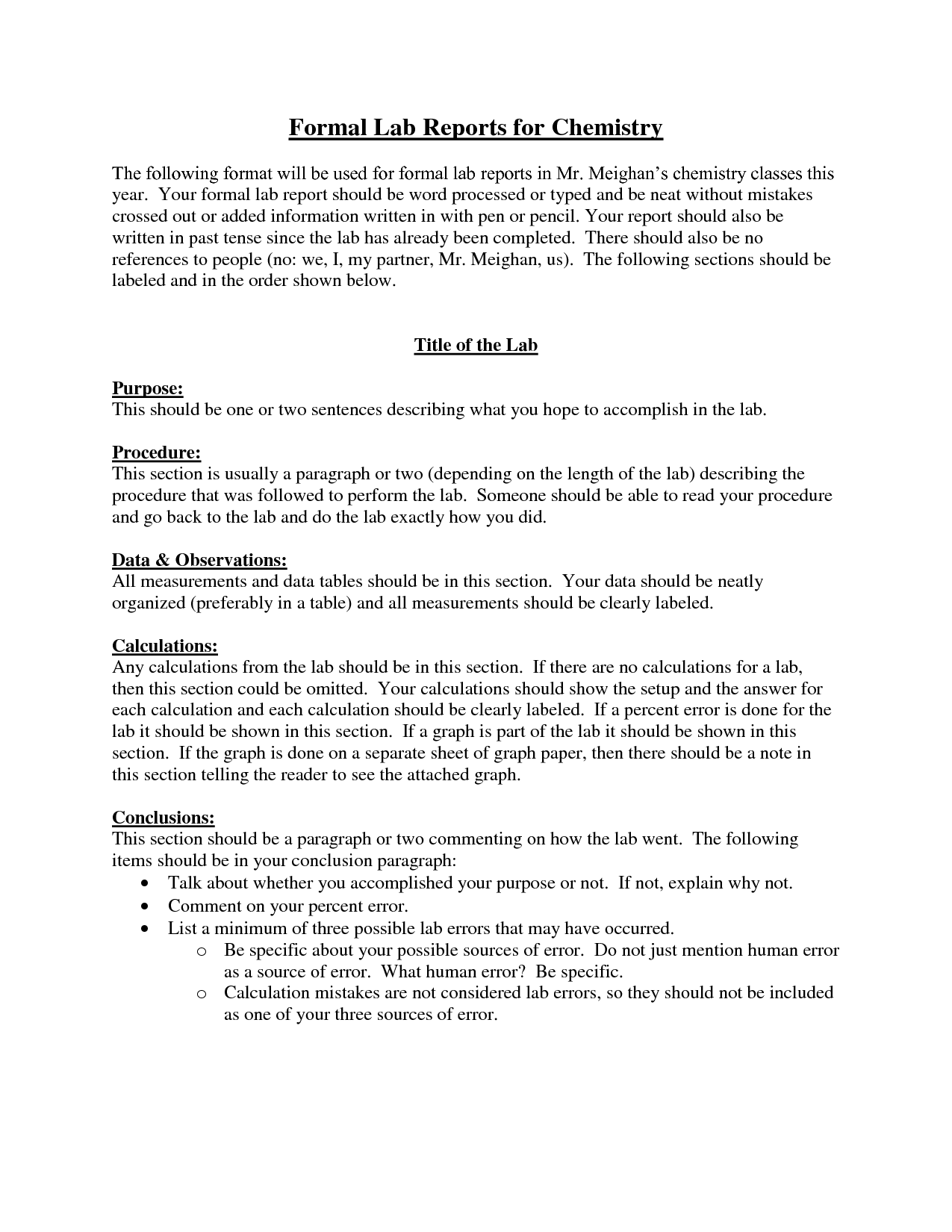 Chemistry Formal Lab Report Format  Challenge Iii