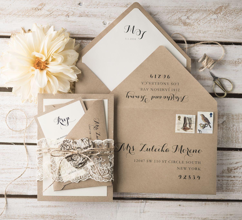 WEDDING INVITATIONS rustic | Weddings, Handmade wedding and Wedding