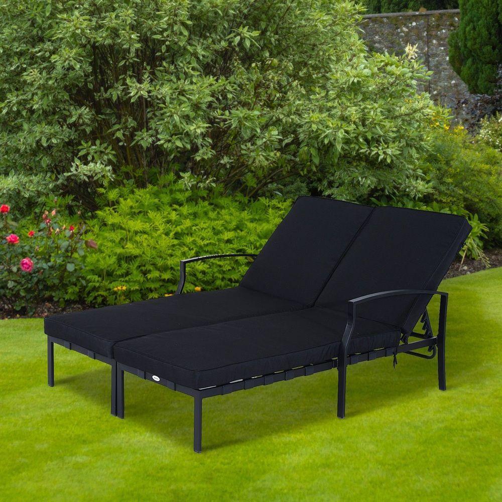 Double Sun Lounger Set Black Metal Frame Thick Cushion Garden