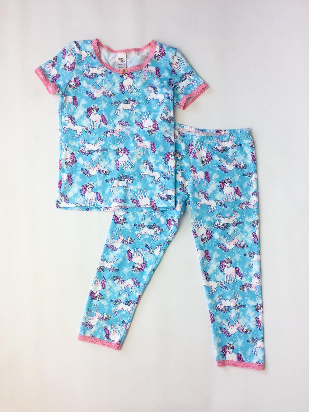 9bb91b6c9 Esme Unicorn Girl s Sleepwear Short Sleeve Top Leggings set ...