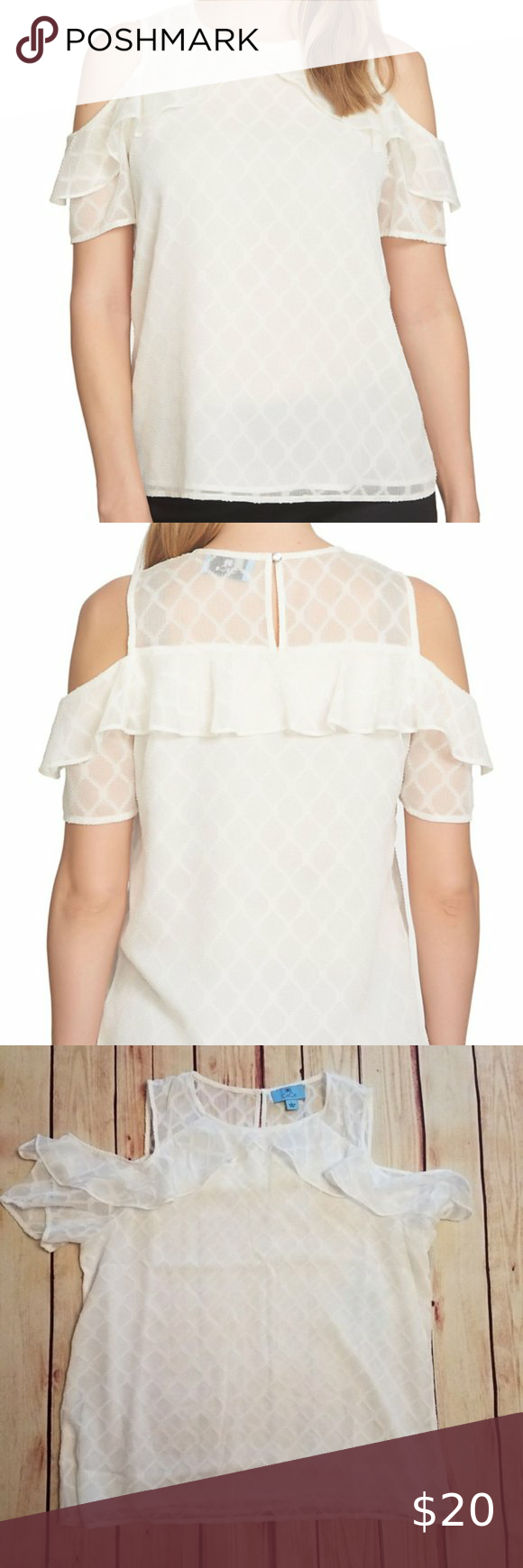CeCe by Cynthia Steffe Cold Shoulder Diamond Top CeCe by Cynthia Steffe Cold Shoulder Diamond Top that is new with tags. It is a size large. Color is new ivory. Feminine frill is perfected in a cold-shoulder top cut from a sheer, floaty fabric with a textural diamond pattern and trimmed with a flouncy ruffle. Has a crew neck and back button and loop keyhold. Partially lined and 100% Polyester. Machine wash cold. Approximate measurements are: 21