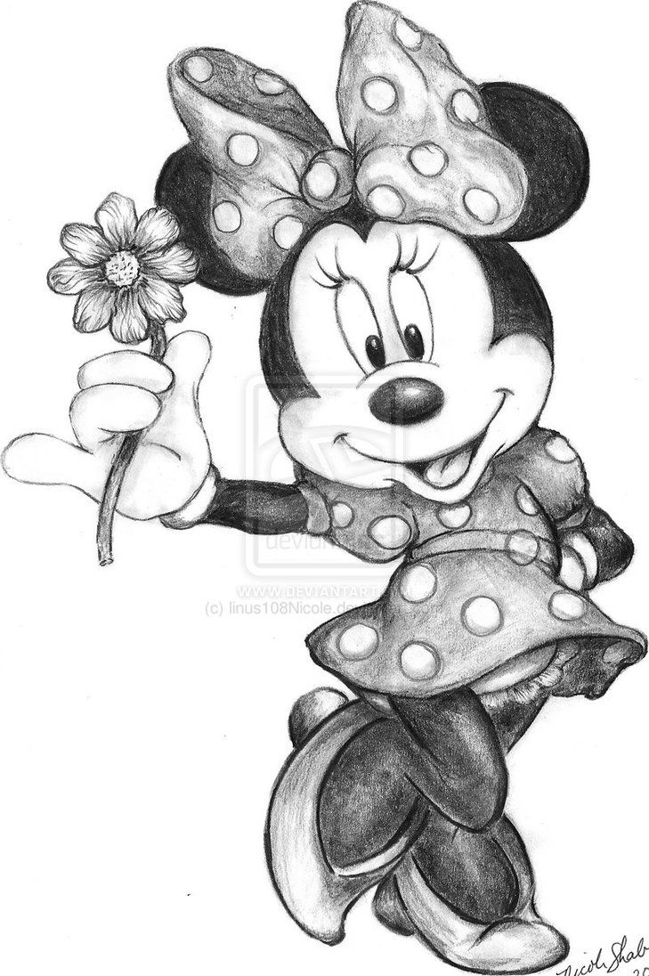 Minnie mouse in black and white then i would do her bow in red and