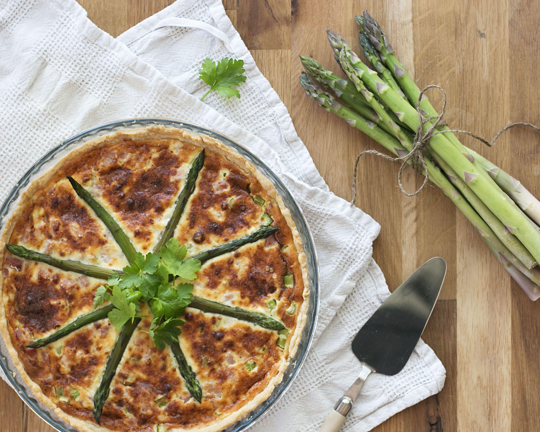 Asparagus and ham pie