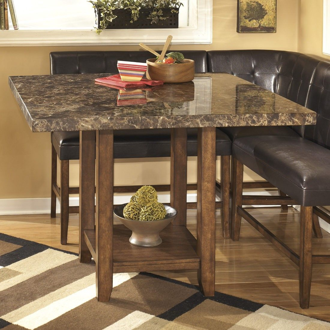 Ashley Furniture Lacey Square Drum Counter Table In Medium Brown Brown Dining Table Dining Table In Kitchen Dining Table
