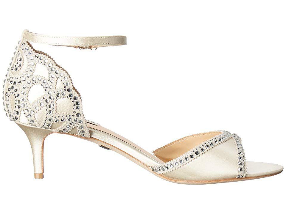 Badgley Mischka Gillian Women S 1 2 Inch Heel Shoes Ivory Satin Suede Wedding Shoes Heels Kitten Heel Wedding Shoes Womens Fashion Shoes