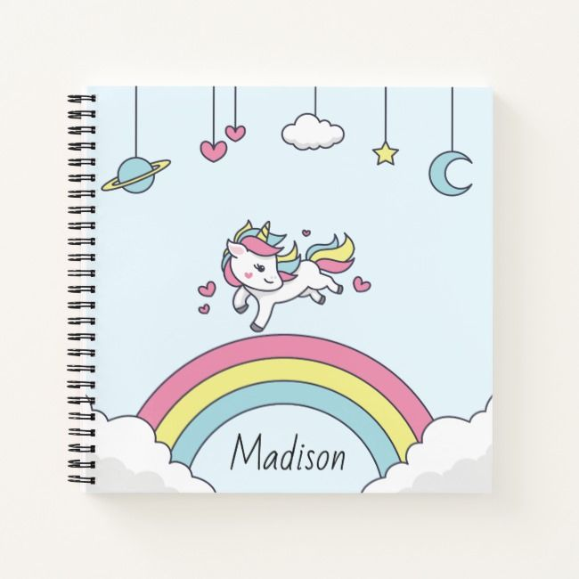 personalized name notebook with unicorn on rainbow
