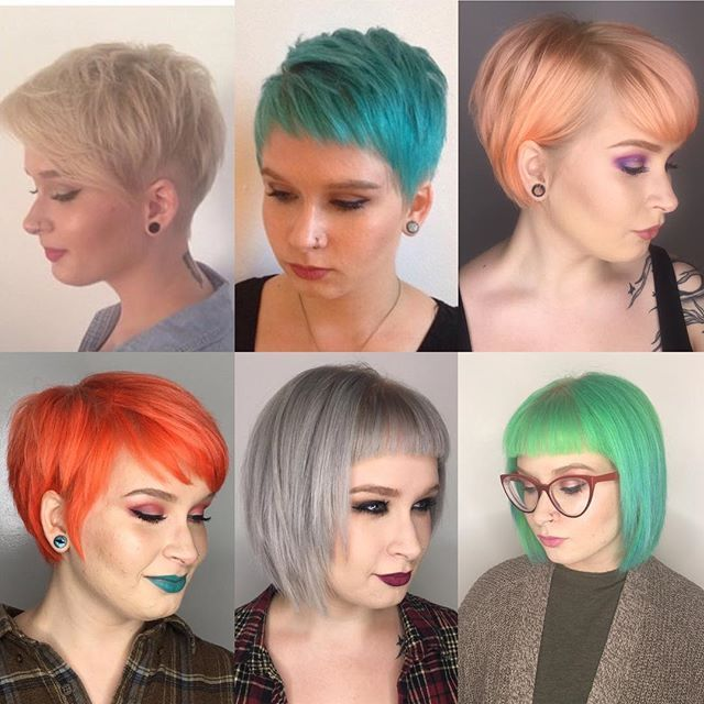 ✨pixie progress ✨ Growing out a pixie doesn\u0027t have to be painful! This babe  @emilymetauten has been transitioning from an undercut to a one length bob