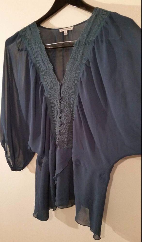 95f8000e7f6dcc Black Rainn XL Shirt Solid Green Teal Chiffon Lace Boho Batwing All  Ocassions #BlackRainn #Blouse #Allocassions