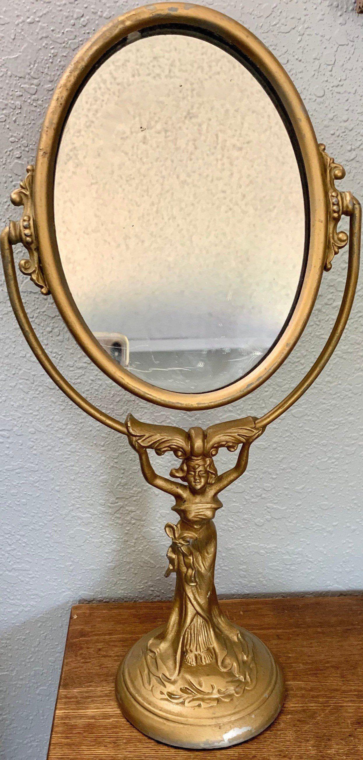 Art nuevo antique decorative mirror vintage gold bronze