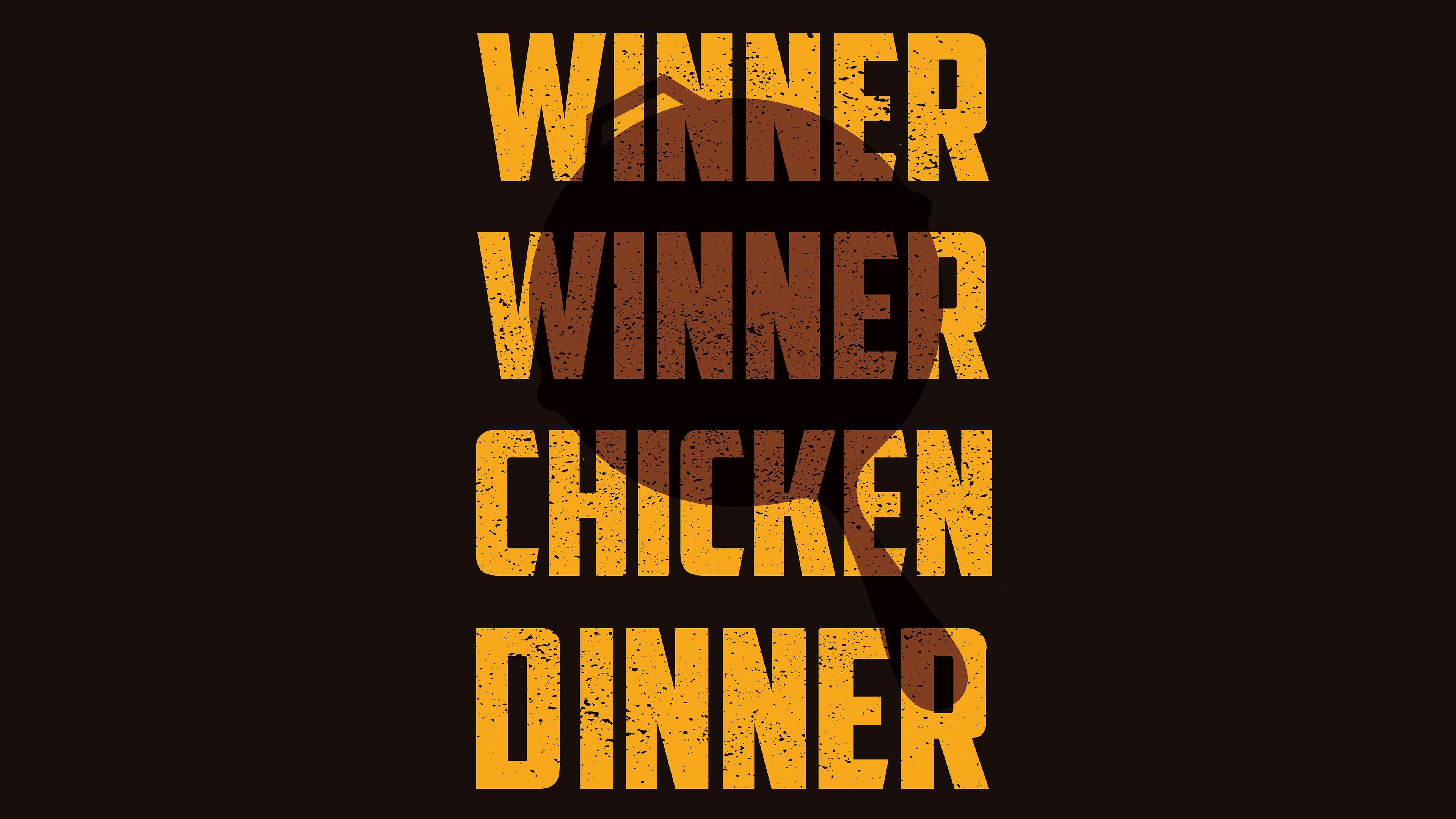 Winner Winner Chicken Dinner 4k Typography Wallpapers Pubg Wallpapers Playerunknowns Battleg Typography Wallpaper Winner Winner Chicken Dinner Chicken Dinner