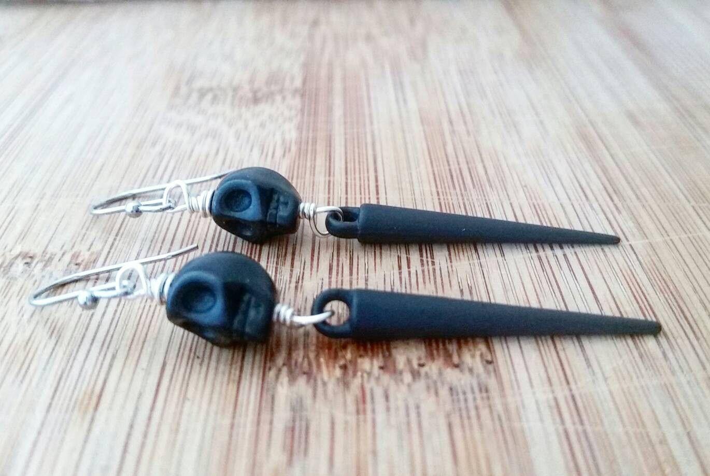 Black skull and spike earrings