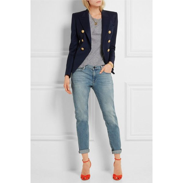 Balmain Double-breasted wool-twill blazer ($1,785) ❤ liked on Polyvore featuring outerwear, jackets, blazers, double breasted jacket, navy blue blazer, wool blazer, double breasted wool jacket and navy wool blazer