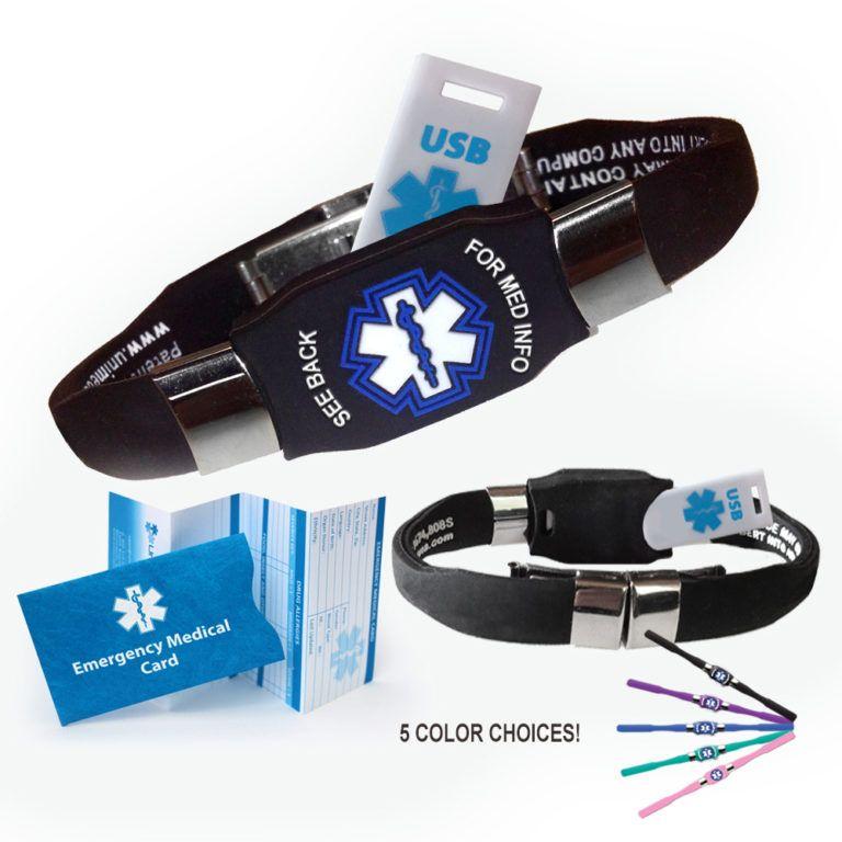 Elite Usb Medical Alert Id Bracelet Waterproof 4 Colors Free Ship In 2020 Medical Equipment Storage Medical Emergency Card Medical