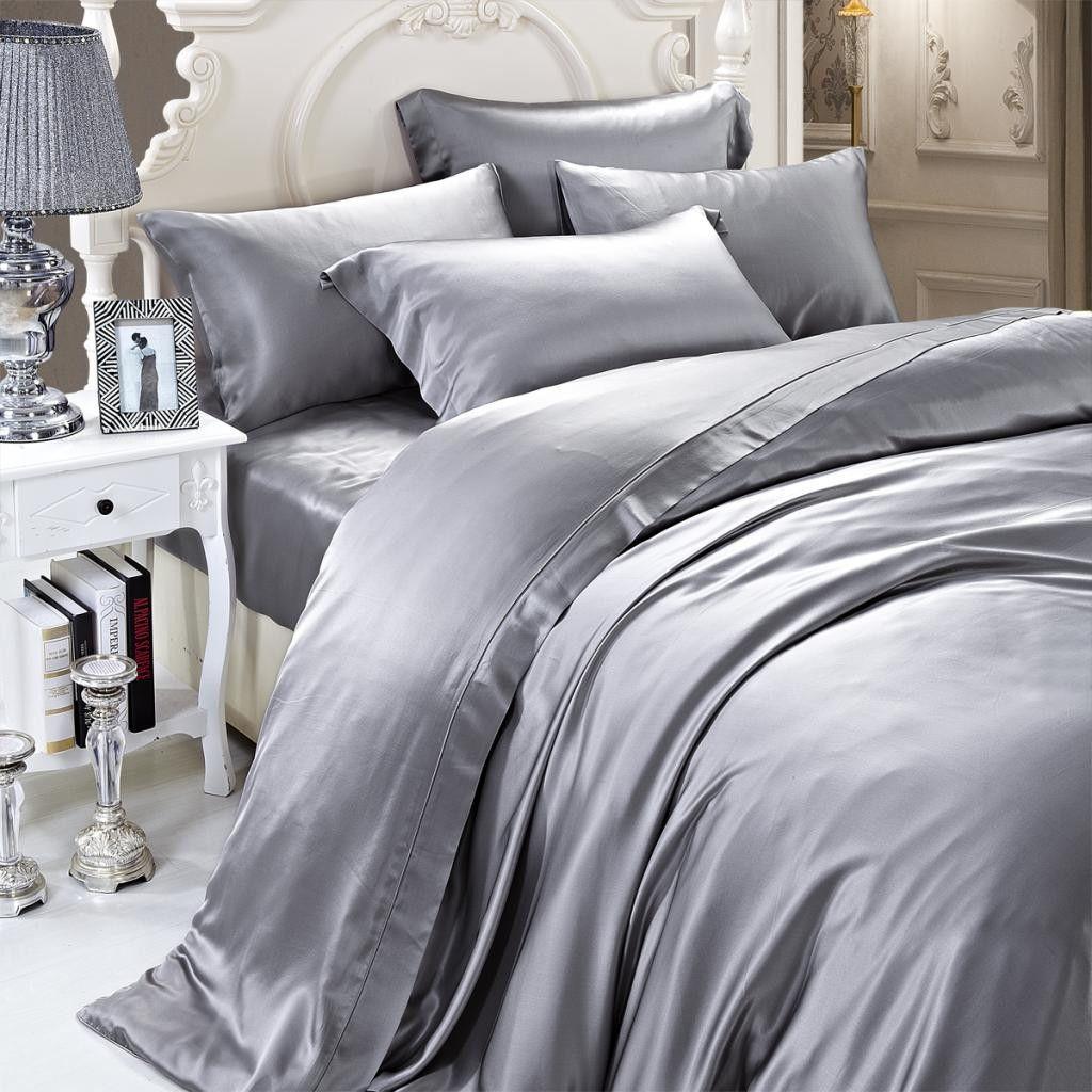 19 Momme Silver Grey Gray Luxuer Silk Duvet Cover Silk Sheets