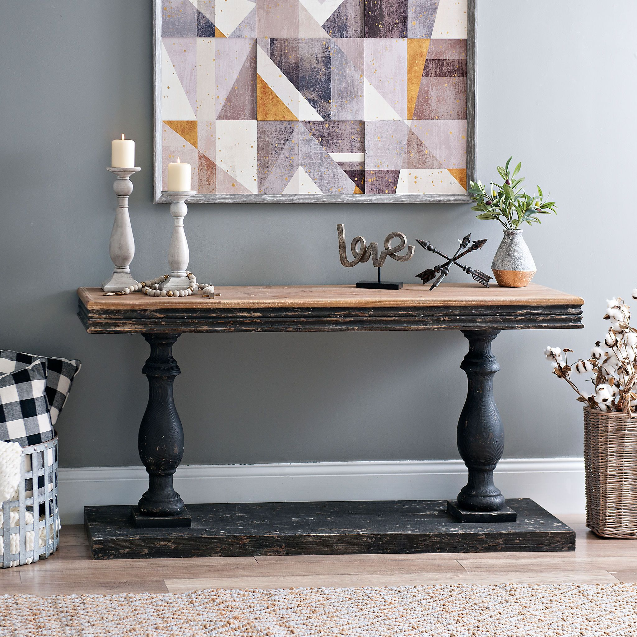 Distressed Black Double Pedestal Console Table | Kirklands