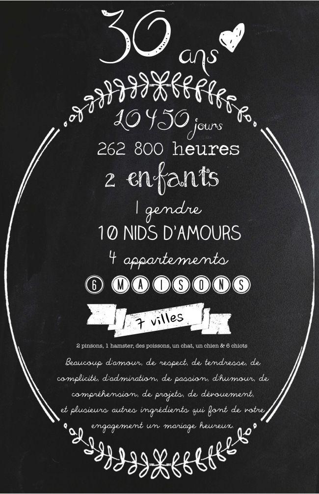 Carte invitation anniversaire de mariage 30 ans