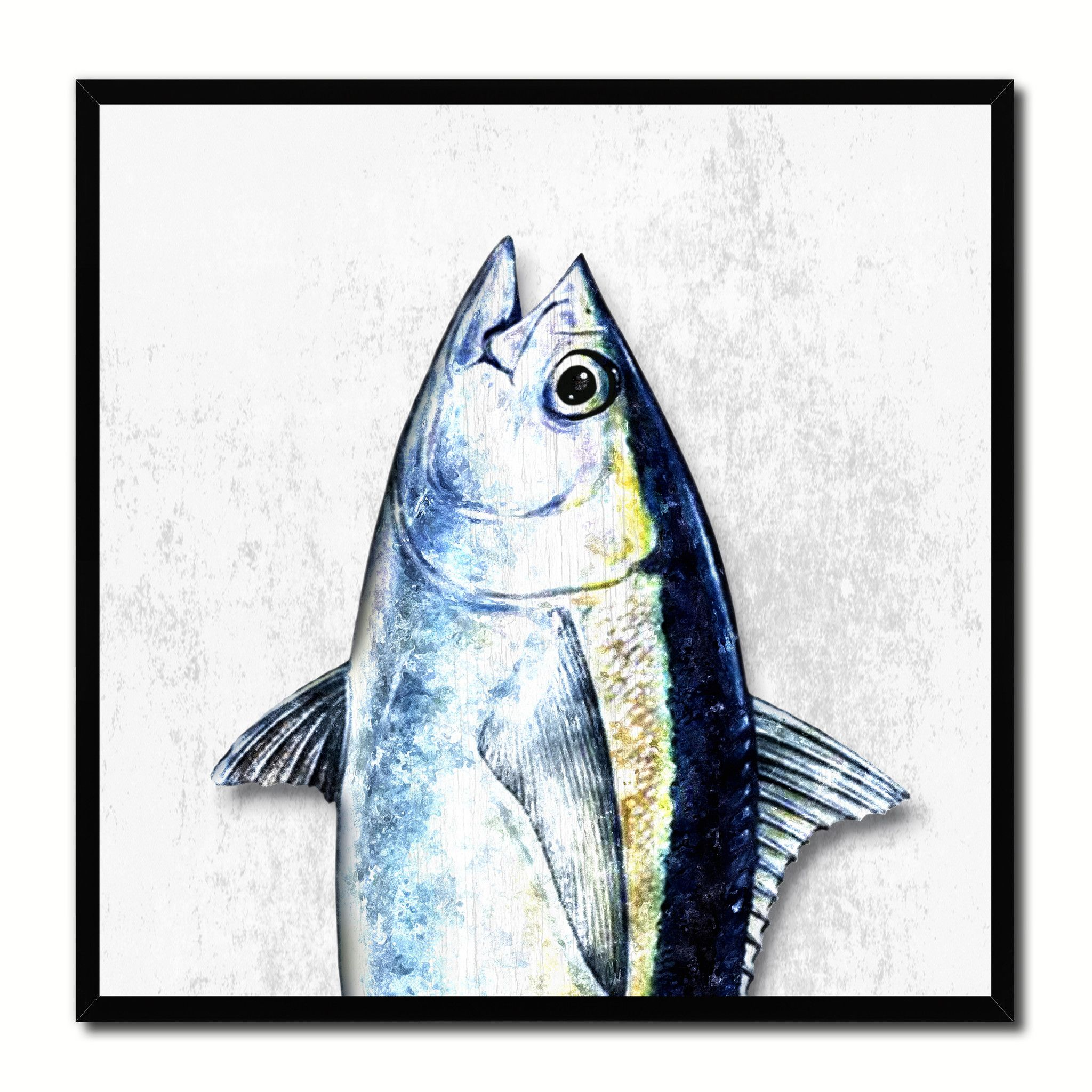 Bluefin Tuna Fish Head Art White Canvas Print Picture Frame Wall ...