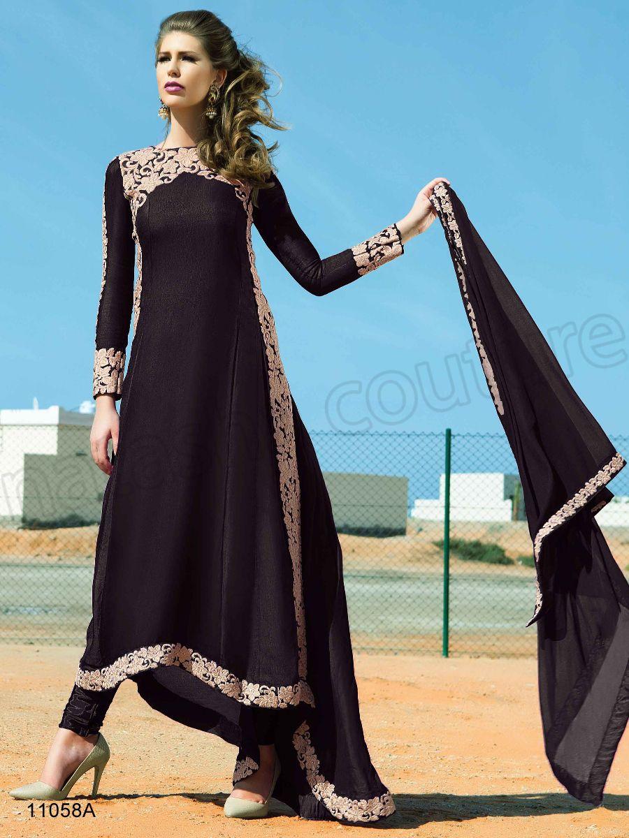 Designer Suits#Black Semi Silk Pakistani Suit #Indian Wear#Desi ...