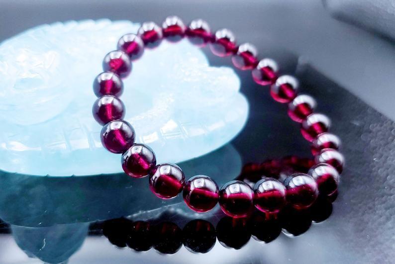 Garnet Bracelet 5.5mm Genuine Garnet Gemstone Bracelet,Beaded stretch Bracelet,Woman Men  Bracelet,Deep Dark Red garnet,root Chakra,FORTUNE