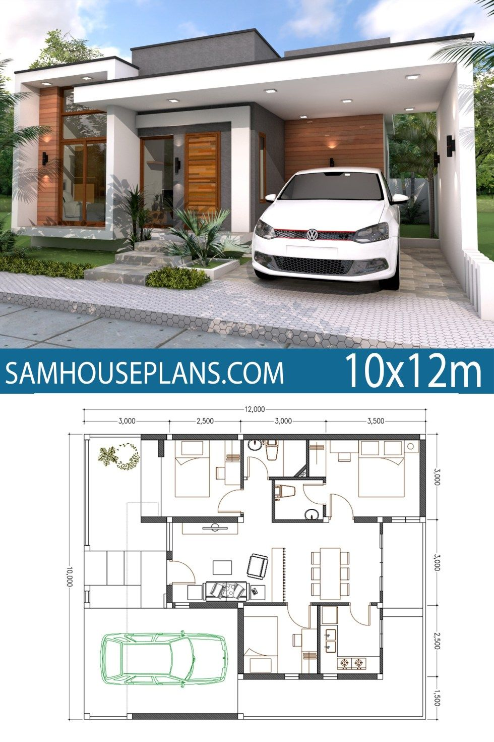 Home Plan 10x12m 3 Bedrooms Sam House Plans Contemporary House Plans Model House Plan New House Plans