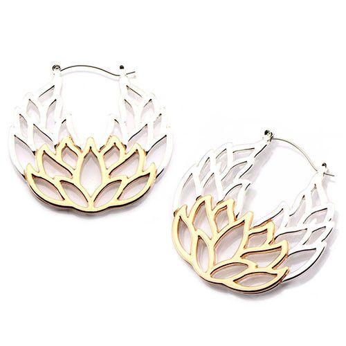 Lotus Tunnel Hoop Earrings #Hinged #Pair #Tunnel-Hoops