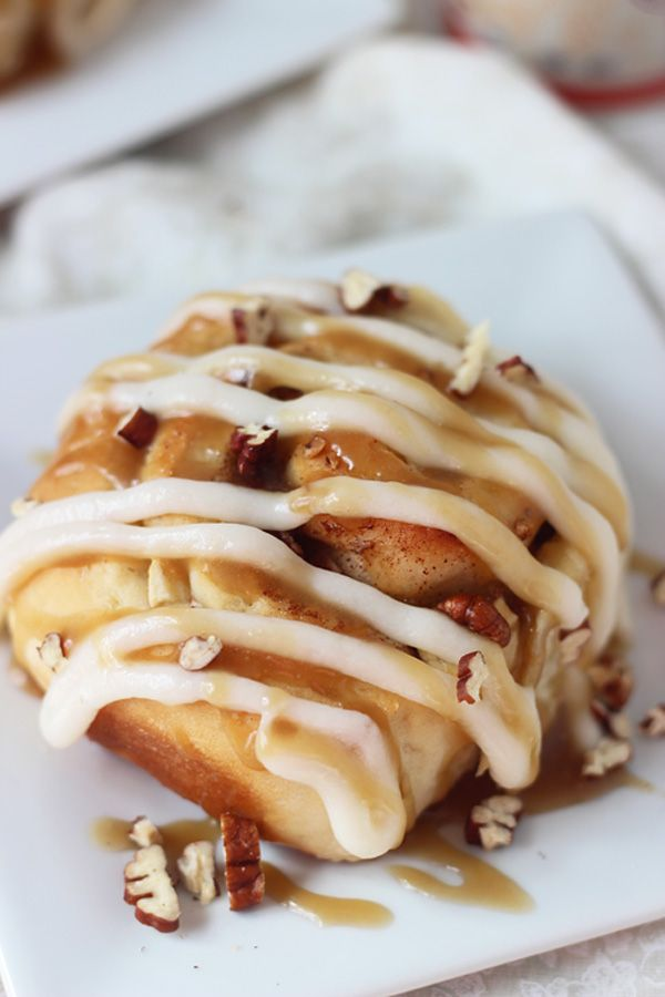 Apple Pecan Cinnamon Rolls with Cream Cheese Frosting and Caramel Sauce