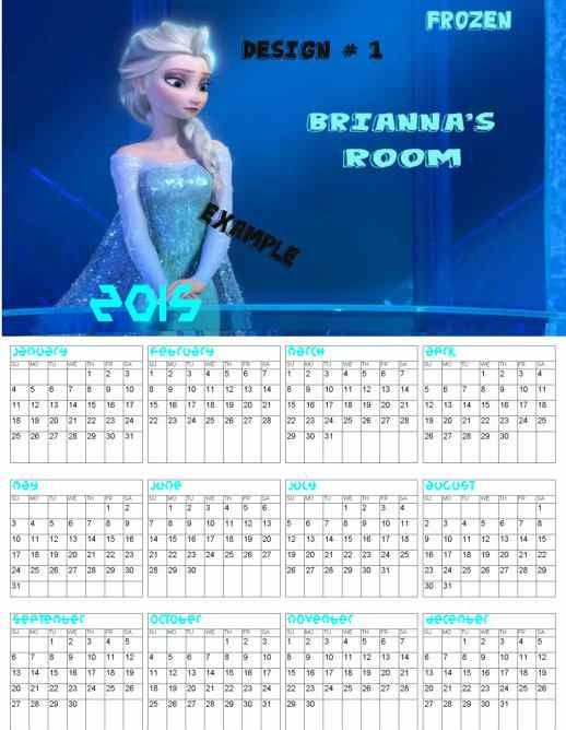 New Year Birthday Frozen Elsa 2015 Monthly Calendar Templates