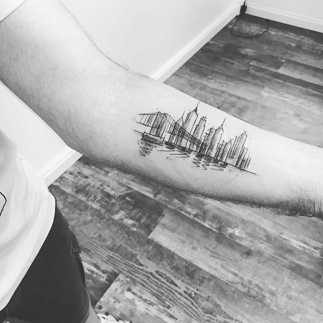 New York Skyline Tattoo in sketch by @annecyink   Tatt Ideas ...