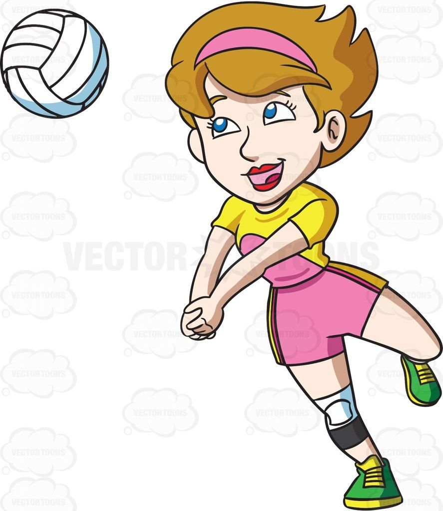 A Happy Female Volleyball Player Vector Graphics Vectortoons Com Female Volleyball Players Volleyball Players Volleyball