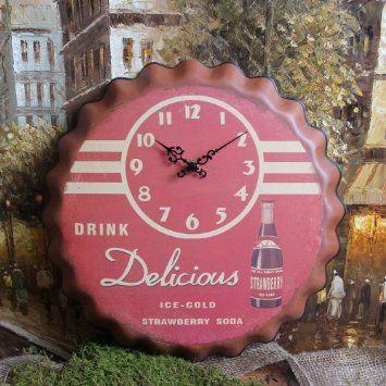 Amazon Com Retro Style Shabby Cottage Chic Tin Wall Clock Home Kitchen Clock Wall Clock Shabby Chic Cottage