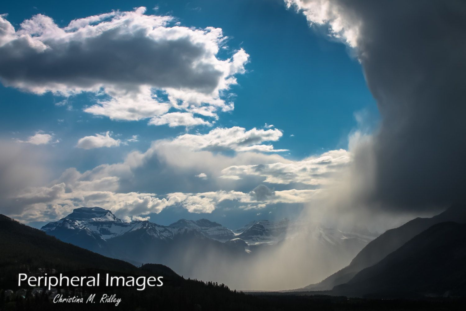 Fine Art Print: Sudden rainstorm #interrupts blue skies in #Banff National #Park,,  View more on the LINK: 	http://www.zeppy.io/product/gb/3/227320887/