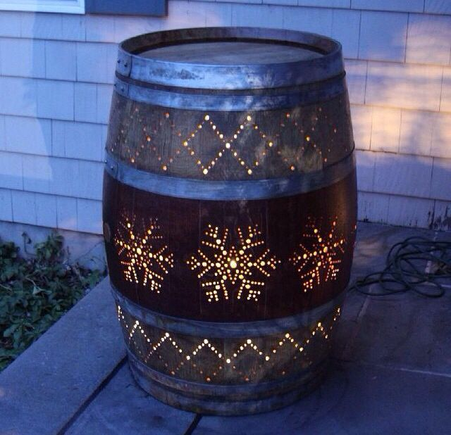 Barrel Light! My next project! WITHOUT the snowflakes! LOL!! AND, I'd love this for INSIDE our home!! Can be done with wooden crates too!!! #DoItYourself #BarrelLight #LightFixture #HomeDecor #Snowflakes #VintageDecor #Antiques #UpCycledAntiques #CreativeLighting #CreativeDecorating #PhotoOfTheDay #PictureOfTheDay #Ambiance #RusticLighting #ConversationPiece