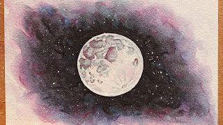 تعليم الرسم كيف ترسم قمر مكتمل وسماء المجرة رسم سكتش منظر طبيعي بالالوان المائية Http Ift Tt 2ttyf2f تعلم الرسم بالالوان ال Art Sketches Drawings Sketches