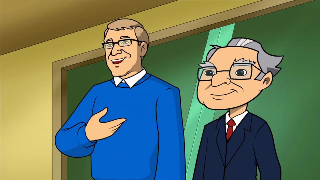 An Animated Bill Gates With Warren Buffett In A Secret Millionaires Club Episode Entrepreneur Millionaires Club People Around The World Warren Buffett