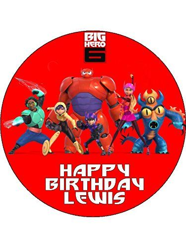 Big Hero 6 Baymax 75 Round personalised birthday cake topper