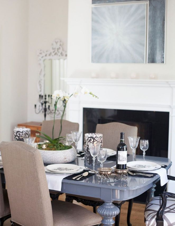 Blue Gray Lacquer Dining Table