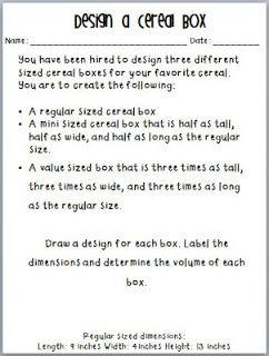 Design A Cereal Box Teaching Volume Common Core Resource Homeschool Mathematics