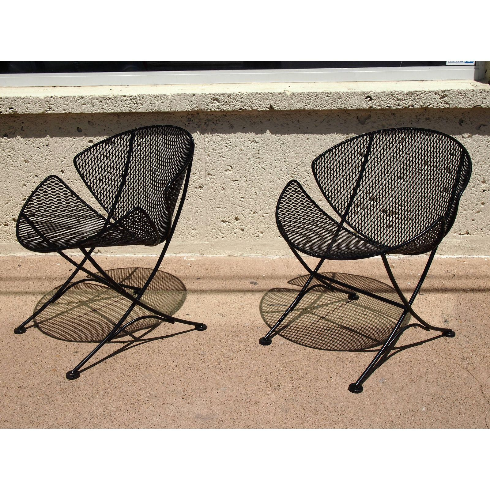 "Image of Salterini ""Slice Wrought Iron Chairs Pair"