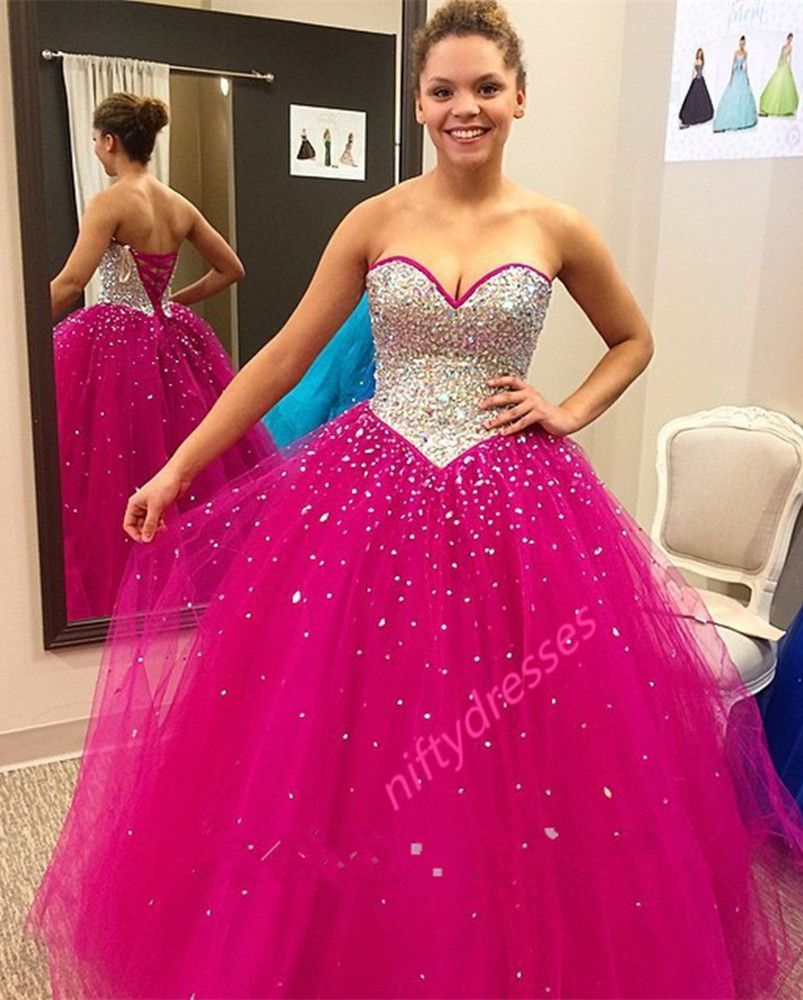 Rose red sleeveless prom dressessweetheart neckline ball gown