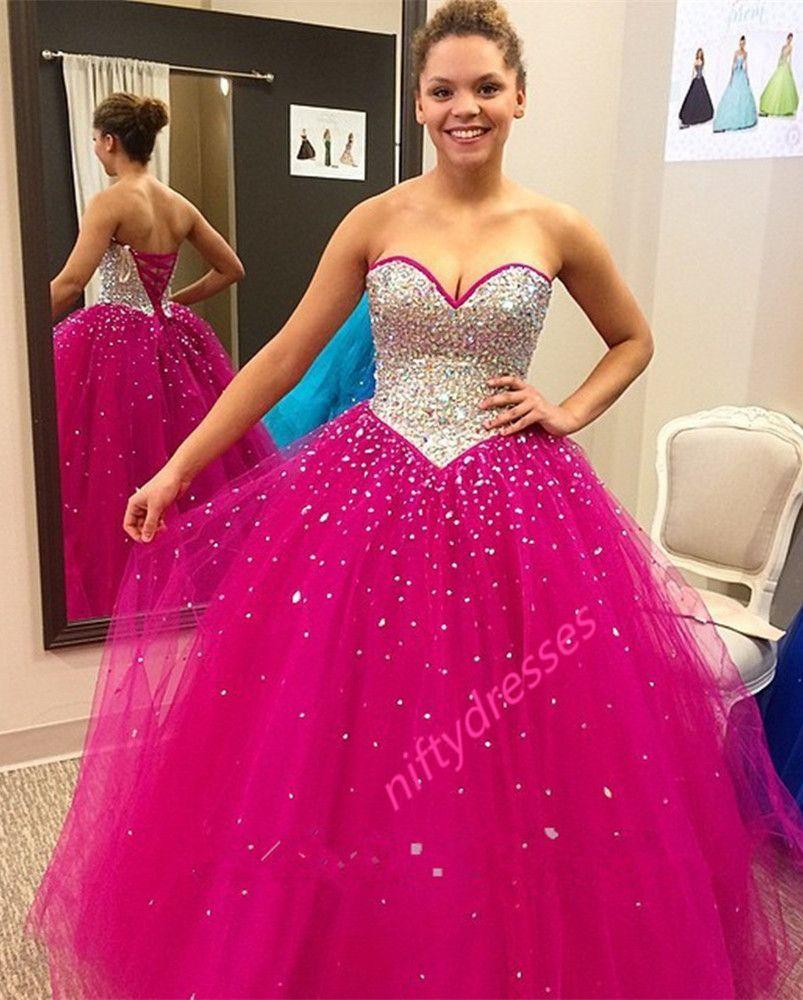 Rose red sleeveless prom dressessweetheart neckline ball gown