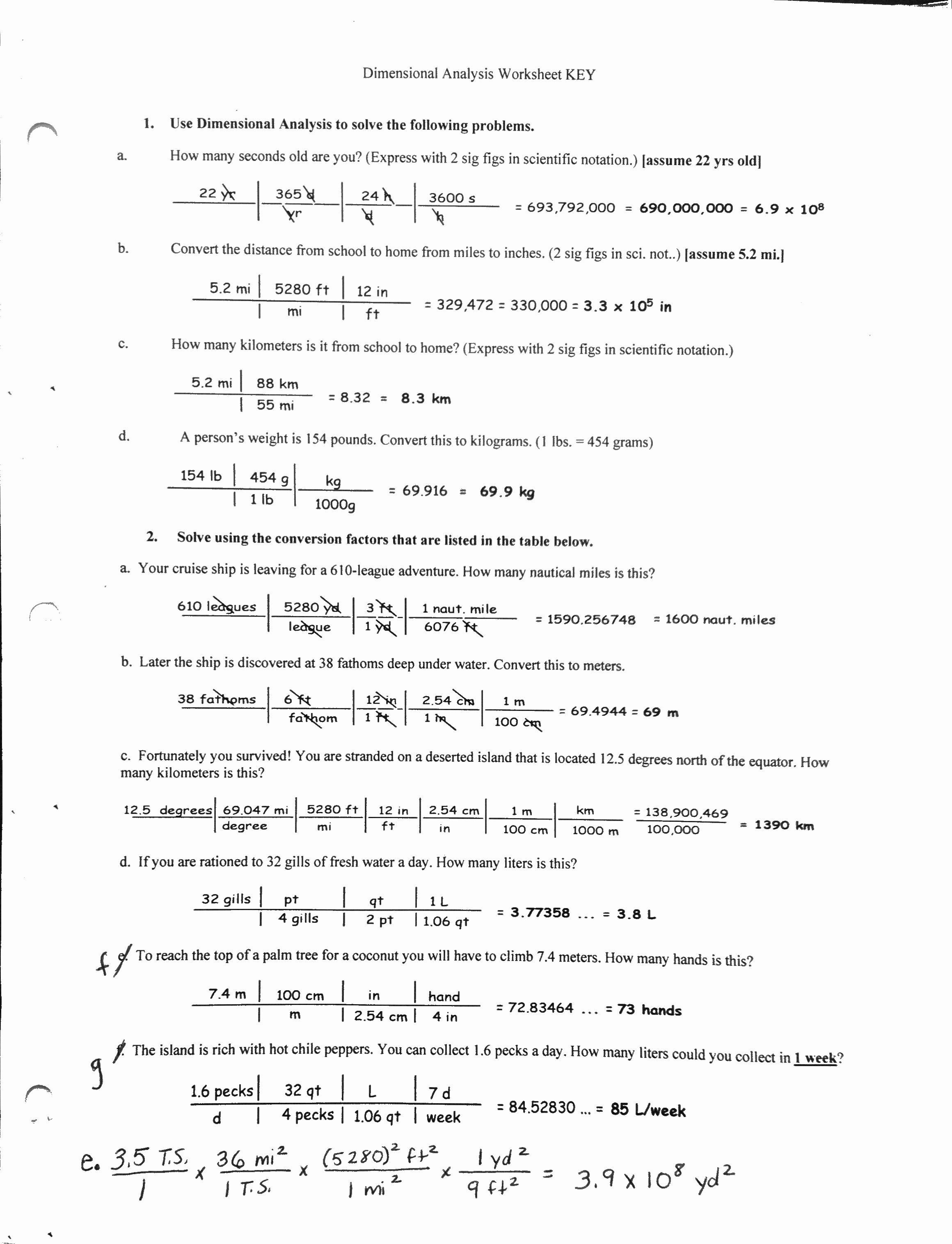 Dimensionalysis Worksheet Answers Chemistry New